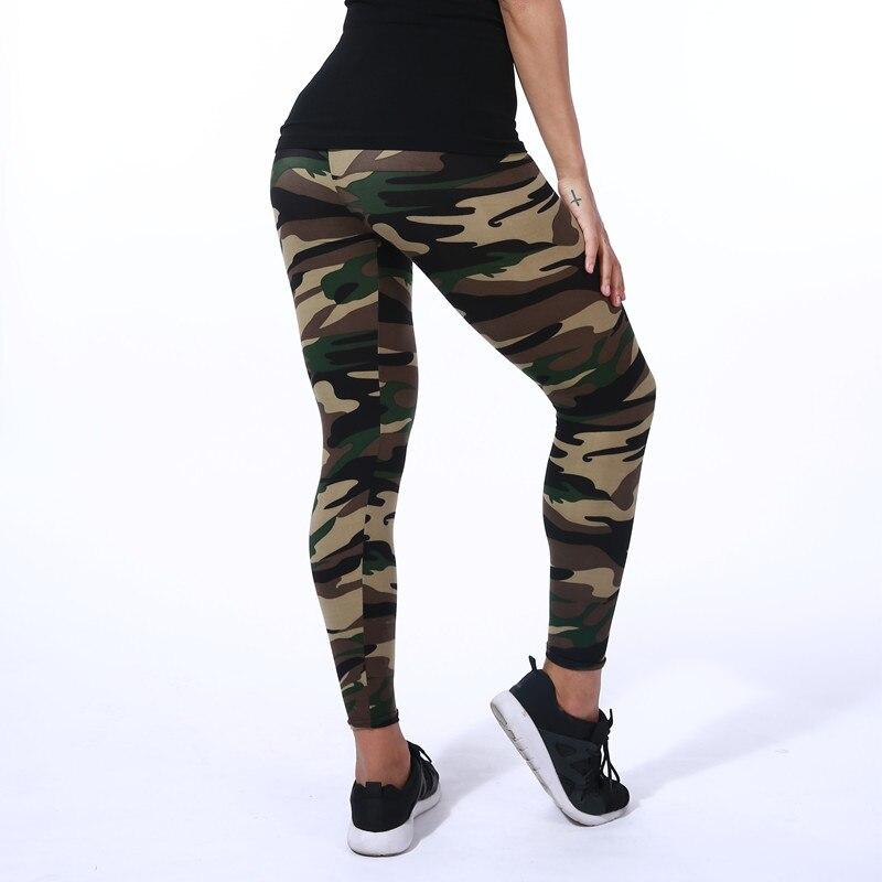 Mode baru 2018 Kamuflase Pencetakan Elastisitas Legging Hijau / Biru - Pakaian Wanita - Foto 2