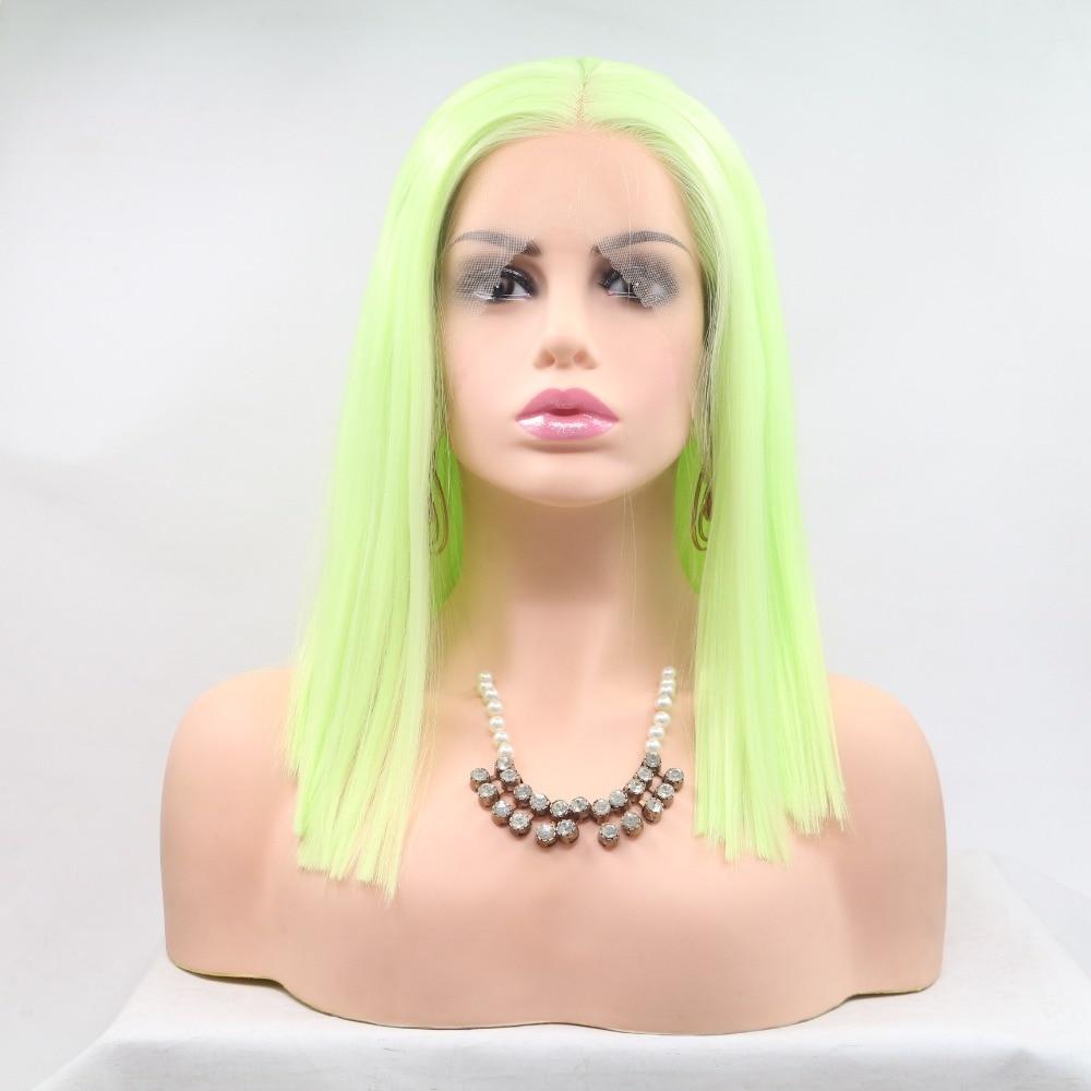 Marquesha Realistic Looking Yellow Green Bob Cut Natural