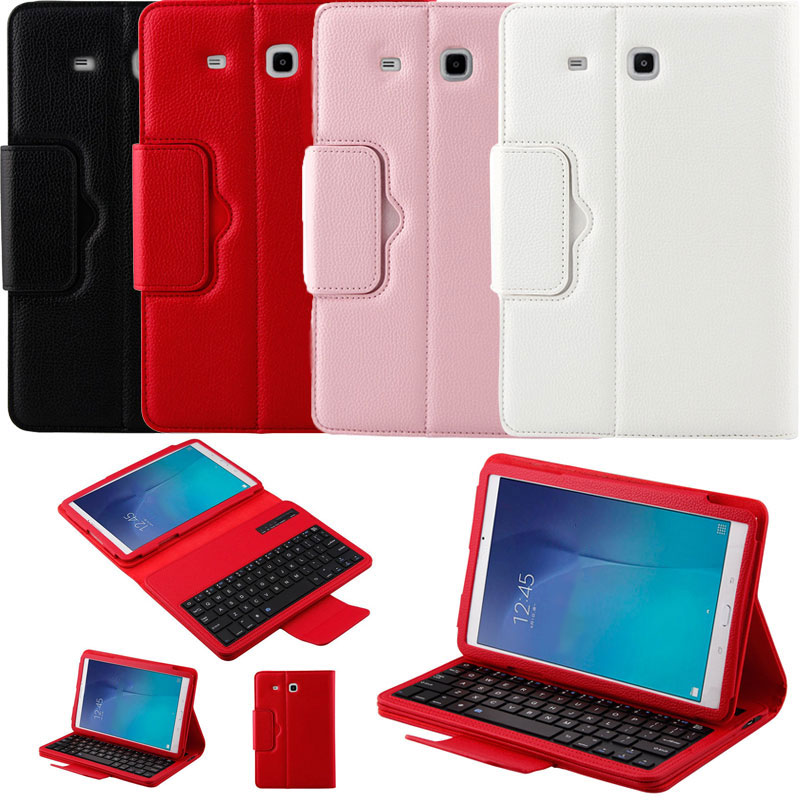 For Samsung GALAXY Tab E 9.6 T560 Wireless Bluetooth Keyboard + PU Leather Stand Cover Case new detachable official removable original metal keyboard station stand case cover for samsung ativ smart pc 700t 700t1c xe700t