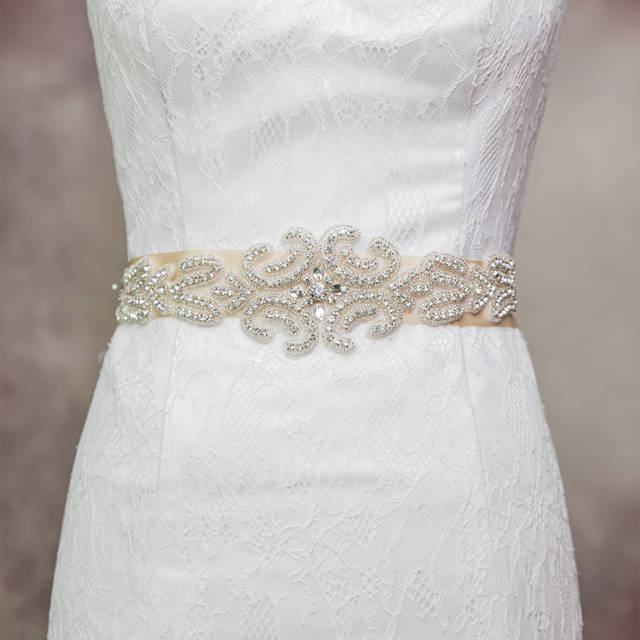 4 COLORS Gorgeous Crystal Rhinestone Trim And Detailed Satin Bridal Sash Wedding Sash Rhinestone Belt Bridal Belt