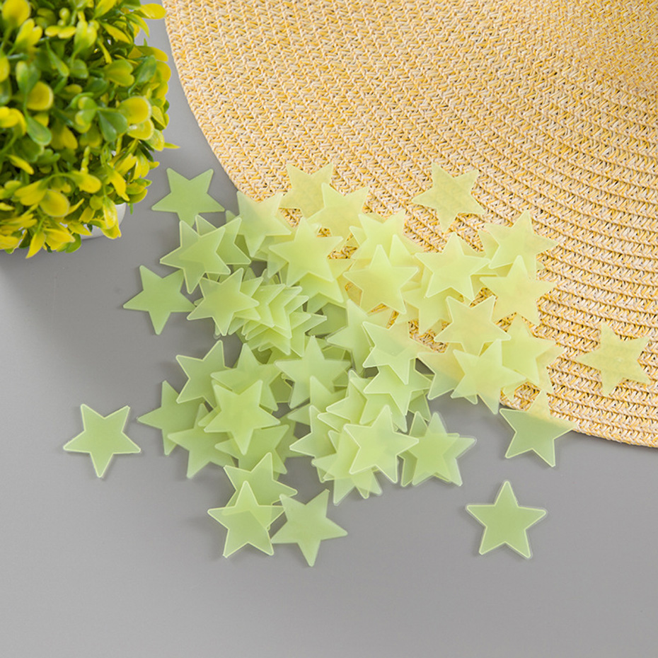 100 pcs. 3D stars glow shine in the dark Luminous on Wall Glowing Stickers for Kids Room living room Wall Decal Home Decoration 3