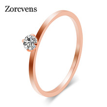 Small Cubic Zirconia Ring Stainless Steel