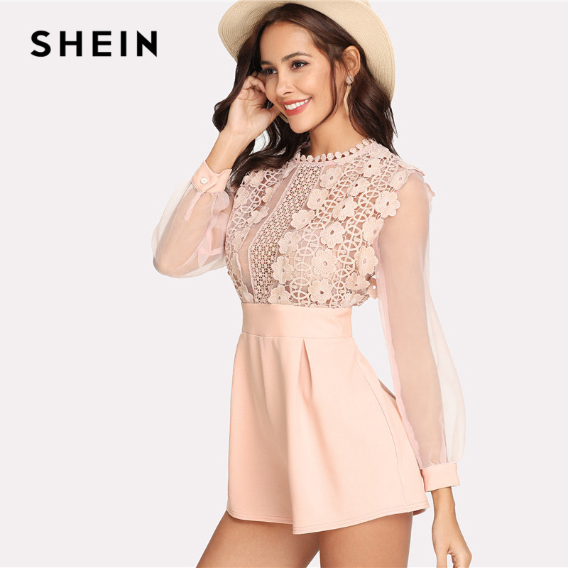 d73241b93039 SHEIN Pink Pastel Floral Lace Rompers Womens Jumpsuit Sexy Jumpsuits High  Waist Wide Leg Applique See Through Bodice Romper -in Rompers from Women s  ...