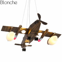 Industrial Vintage Pendant Lights Aircraft Hanging Lamp for Children's Room Led Plane Hanglamp Luminaire Home Lighting Fixtures