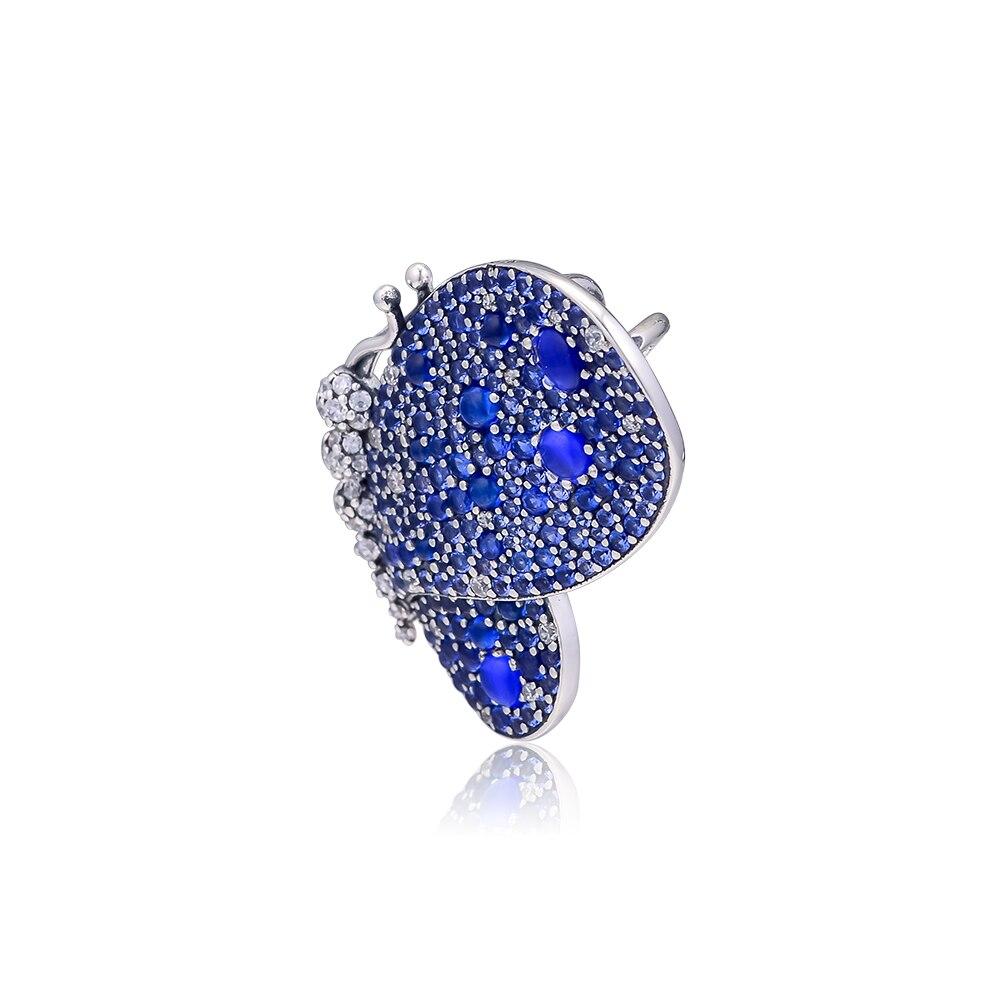 Pandulaso Fashion Dazzling Blue Butterfly Brooch Charm Fit Original European Bracelets For Woman DIY Sterling Silver