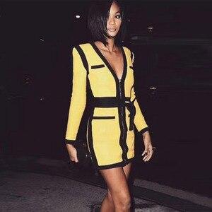 Image 2 - Seamyla 2019 New Women Bandage Dress Vestidos Yellow&Black Mini Night Out Clubwear Sexy Deep V Celebrity Evening Party Dresses