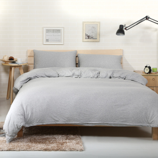 100% Cotton Bed Sheets 4pcs Elegant Solid Color Grey Duvet Cover Set With Fitted  Sheet