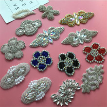 4Pcs Bling Bling Handmade Iron On Beaded Crystal Clear AB Rhinestone  Applique for Wedding Ornaments Baby 00a7d6b3db06