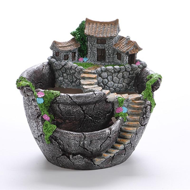 Cartoon Style Creative Desktop Landscape Flower Pot Garden Design Flowers Baskets Succulents Plants Holder House Bonsai