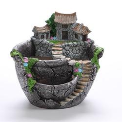 Cartoon Style Creative Desktop Landscape Flower Pot  Garden Design Flowers Baskets Succulents Plants Holder House Bonsai  Pots