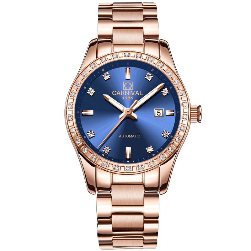 Top Brand CARNIVAL watch for women Luxury Fashion Automatic Watch Women Steel band Luminous Calendar Sapphire Mechanical Watches 2017 carnival luxury brand mechanical watch women leather bracelet waterproof sapphire mirror stainless steel automatic watches