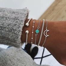 5Pcs/Set New European and American Style Inlaid Acrylic Simple Geometric Bracelet Personality Moon Bead Chain Womens