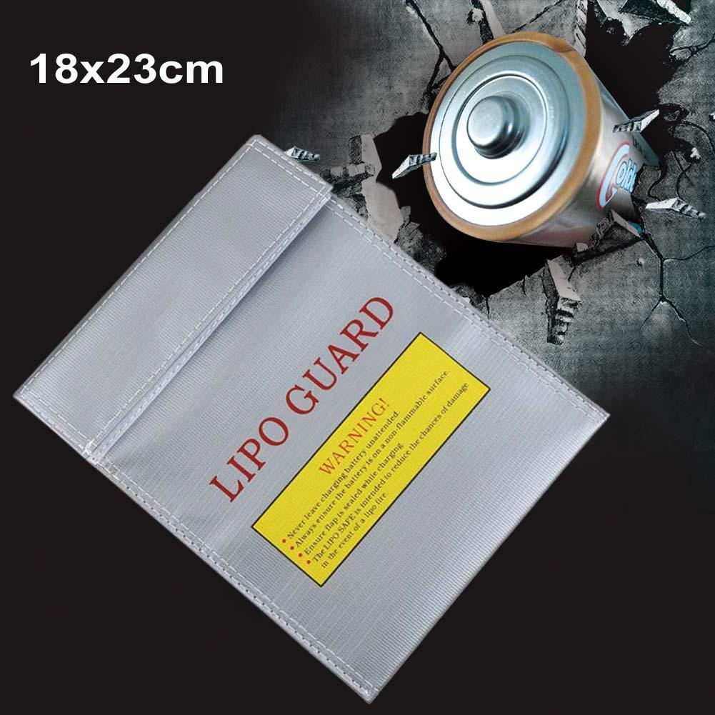 1Pc Fireproof RC LiPo Li-Po Battery Fireproof Safety Guard Safe Bag Charging Sack Battery Safety Guard Silver 180 X230 mm
