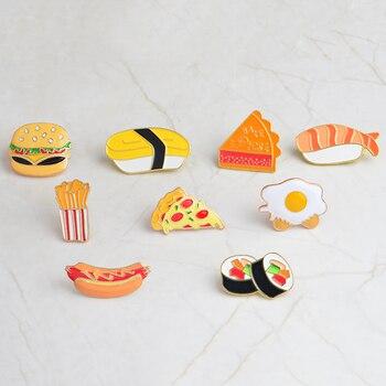 Broche de comida chatarra Pizza patatas fritas Pizza hamburguesa pin niños insignia para ropa metal dibujos animados en mochila