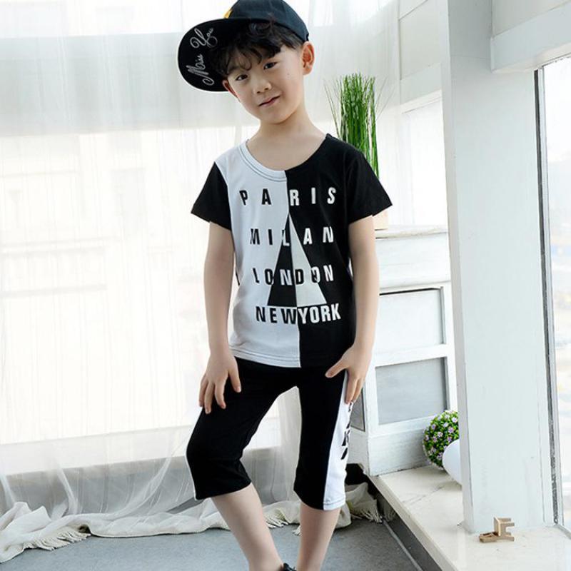 Boys Kids Pants Shirts Children's-Sets Cotton Cartoon Summer Letter Roupa 2pcs Gilet