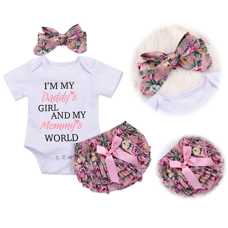 HOT SALE Baby Girl Clothes Set Newborn Clothes Letter Print Jumpsuit+Soft PP Pant+Floral Headband 0-2T Kids Clothes Summer D30