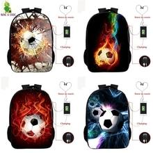 3d Fire Football Prints USB Bagpack 16 Inch School Backpacks for Teens Boys Girls Backpack Nylon BookBag Cool Laptop Back Pack