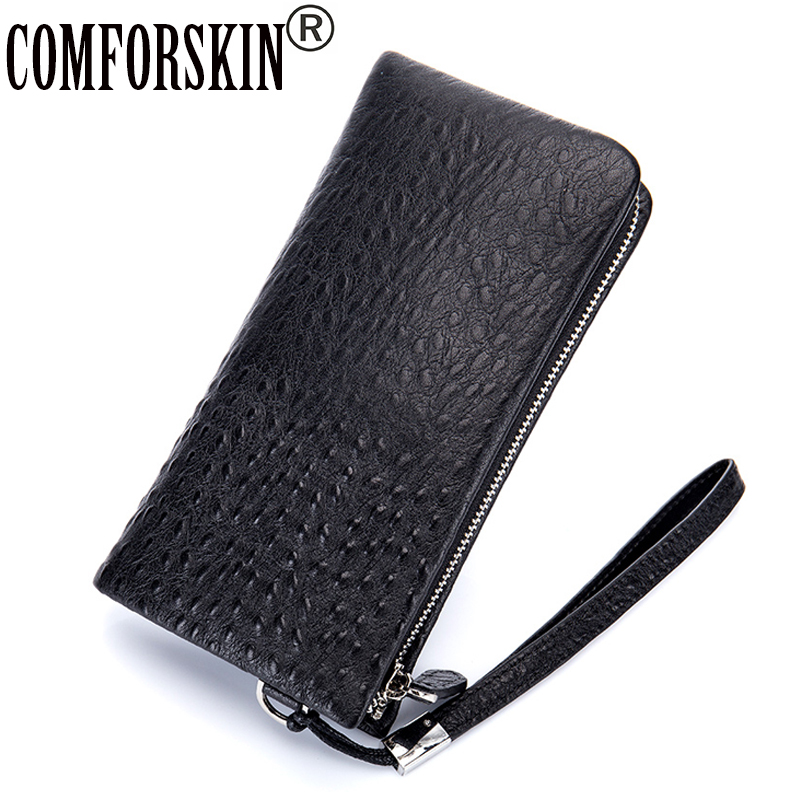 COMFORSKIN Premium 100% Genuine Leather Multi-Card Bit Male Zipper Wallet Large Capacity Man Purses Hot Men Clutch Wallets 2018