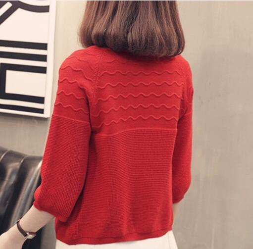 Carol Diaries Women Girls Korean Version Jacket Coat Women Cardigan Knitwear Loose 3/4 Sleeve Knitted Casual Autumn Sweater