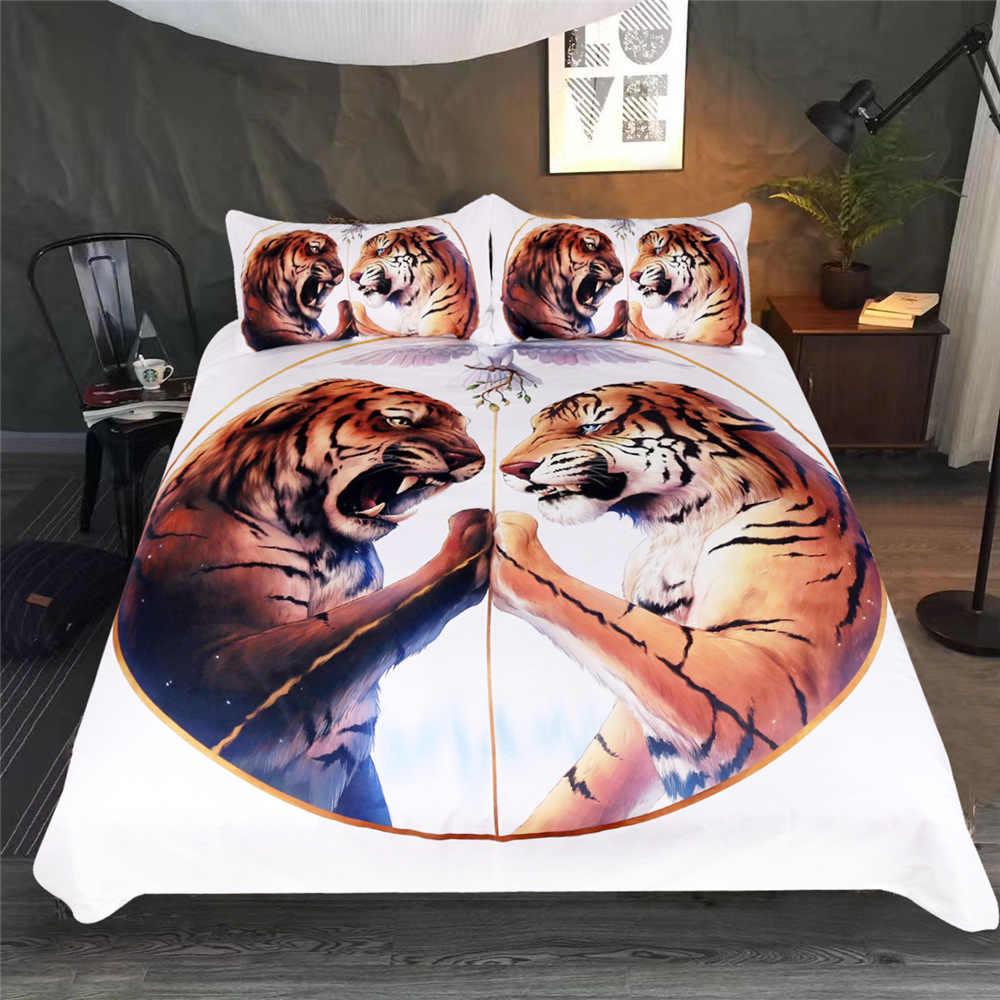 CAMMITEVER Тигры набор пододеяльников Набор двойной полный королева король размер Домашний текстиль Королева 3 шт. постельное белье