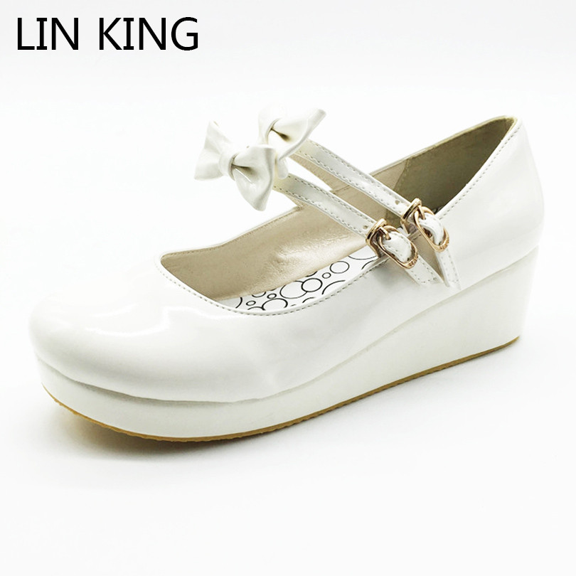 LIN KING Mary Janes Women Wedges Pumps Sweet Bowknot Lolita Shoes Pu Platform Shoes Lady Spring Autumn Round Toe Pumps Big Size 2016 new wedges platform shoes with comfort women bowtie buckle casual shoes sweet solid pumps round toe large size shoes