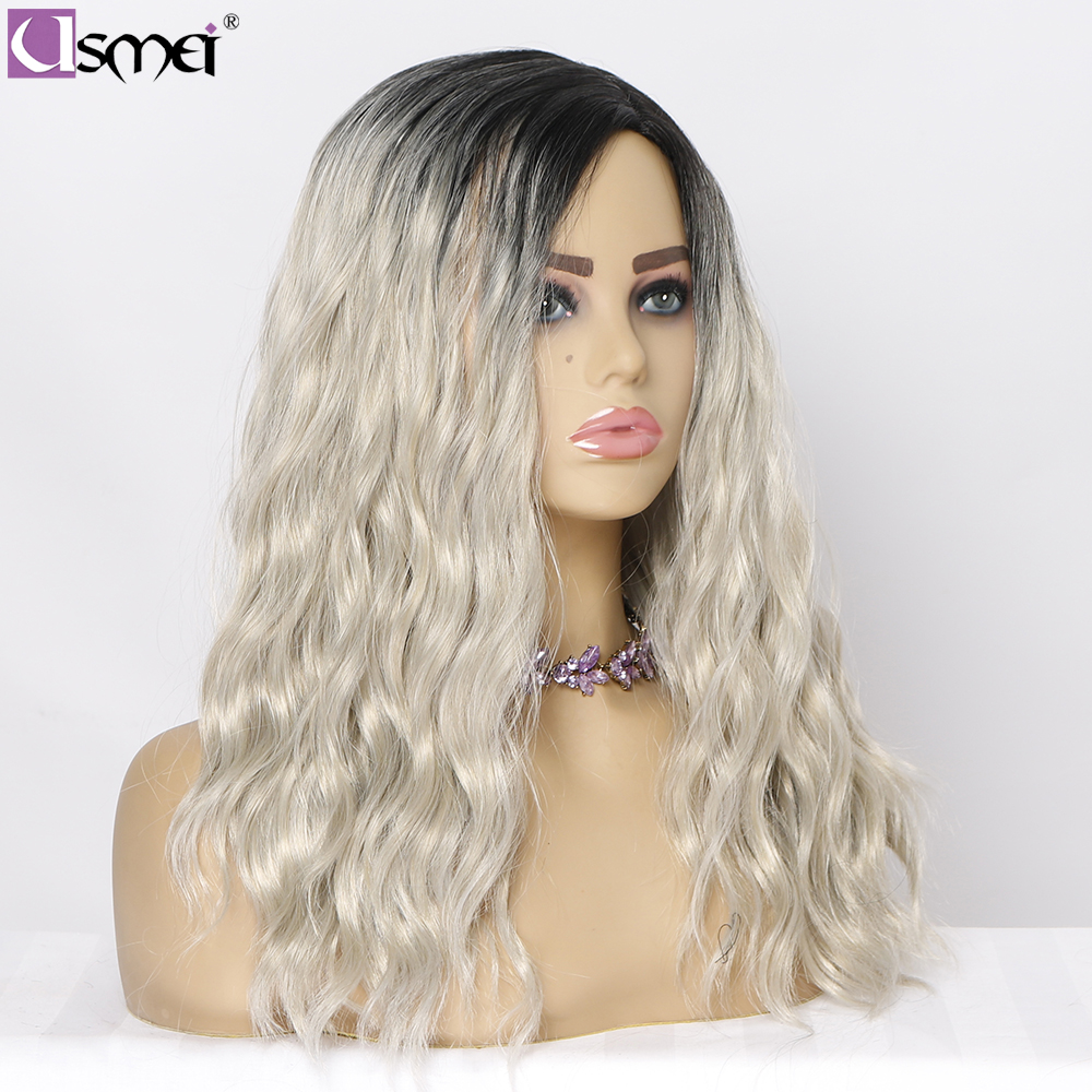 Usmei Wavy Hair Medium Length Gray Wig Synthetic Wigs For Women Root Black Ombre Wigs Party Cosplay Wig High Temperature Fiber