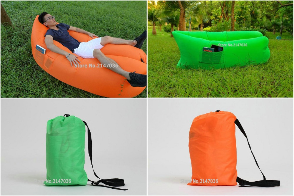 POCKETS HOLDING DESIGN instant air bean bag, outdoor waterproof beanbag sofa lounger