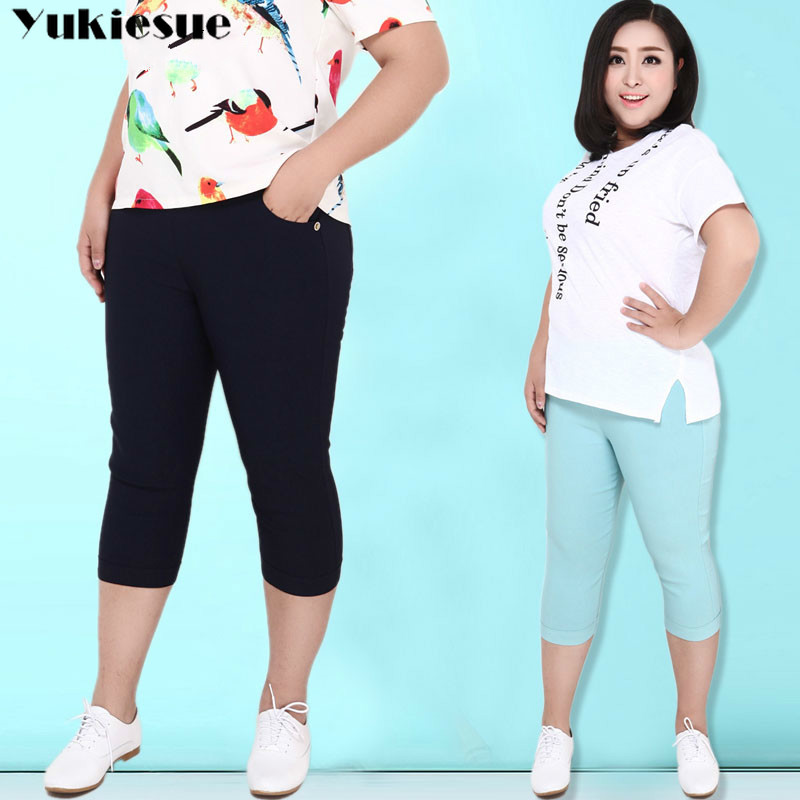 summer skinny women's   pants     capris   with high waist pencil   pants   for women trousers woman   pants   female black white Plus size 6XL
