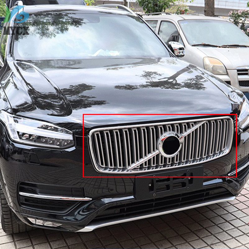 2018 For <font><b>Volvo</b></font> XC90 <font><b>XC</b></font> <font><b>90</b></font> 2015 2016 <font><b>2017</b></font> AB Matte Car Styling Exterior Accessories Front Grille Grill Cover Molding Trim 2PCS image