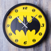 Batman 3D stereoscopic wall clock Retro cartoon creative wall clock Personalized bats living room wall clock