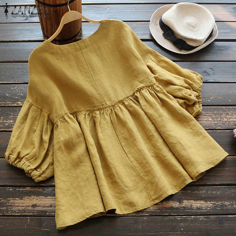 93c4eb59989 ... Plus Size Summer Blouse Women Pleated Shirt 2019 Vintage Linen Blusas O-neck  Lantern Sleeve ...