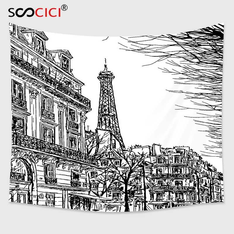Cutom Permadani Dinding Gantung Paris Dekorasi Koleksi Sketsa Paris