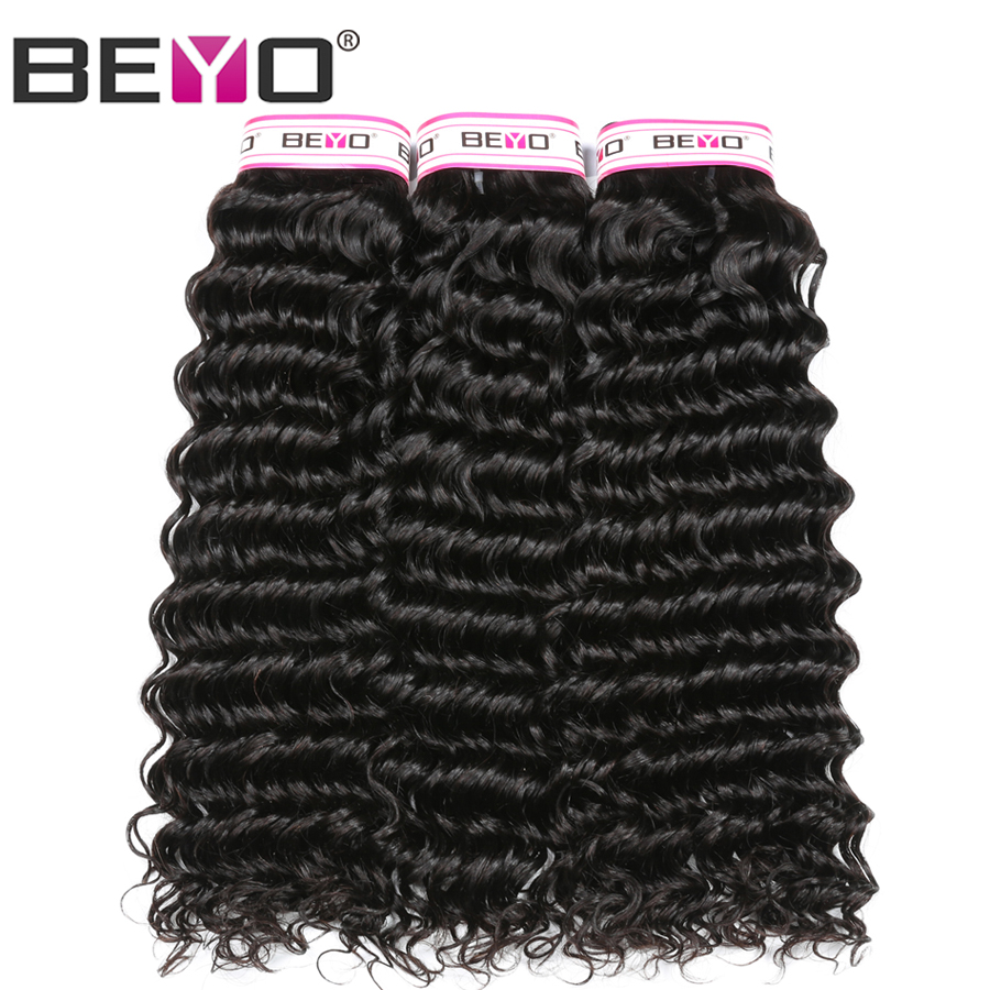 Beyo Malaysian Deep Wave Bundles Human Hair Weave Natural Color 3 Bundle Deals Non Remy Hair Extension 10-28 Inch Free Shipping