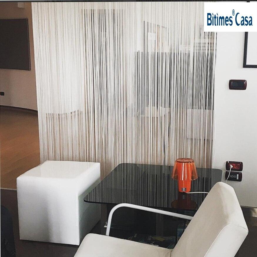 W150L300CM dekoratif warna solid string garis tirai hitam putih coklat merah pembatas ruangan dekorasi rumah jendela kelambu