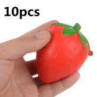 Mayitr 10PCS 8CM Mini Soft Squishy Strawberry Phone Straps PU Material Candy Scented Slow Rising Fruit