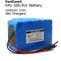 24 V 10 Ah 7S5P Bateria 18650 bateria de lítio 29.4 v Bicicleta Elétrica ciclomotor/Elétrica/bateria de iões de lítio pacote de Carregador de 29.4 V 2A