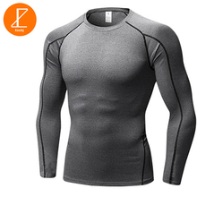 Фотография Ezsskj Fitness PRO GYM Tights Men long sleeve Basketball Running Sports T shirt Muscle Bodybuilding Compression Shirt Tops