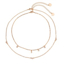 купить BK Simple Cute Gold Color Star Choker Necklace For Women Beads Collar Necklaces Boho Metal Double Layering Chain дешево