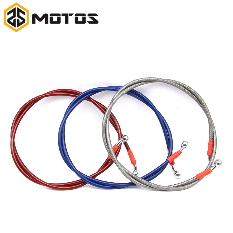 ZS MOTOS Dirt Bike Braided Steel Hydraulic Reinforce Brake line Clutch Oil Hose Tube 800 To 1400mm Universal Fit Racing MX motorcycle dirt bike braided steel hydraulic reinforce brake line clutch hose pipe tube 1300 to 1600mm universal fit racing mx