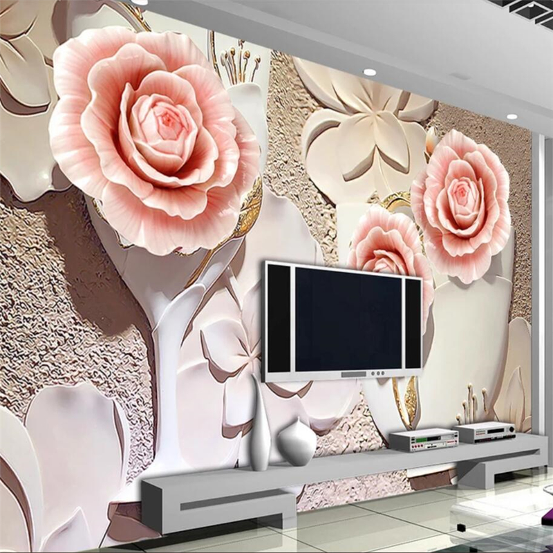 beibehang Custom wallpaper 3D Photo mural Living room bedroom Rose relief Mural TV backdrop Papel de parede 3d wallpaper murals custom children wallpaper multicolored crayons 3d cartoon mural for living room bedroom hotel backdrop vinyl papel de parede