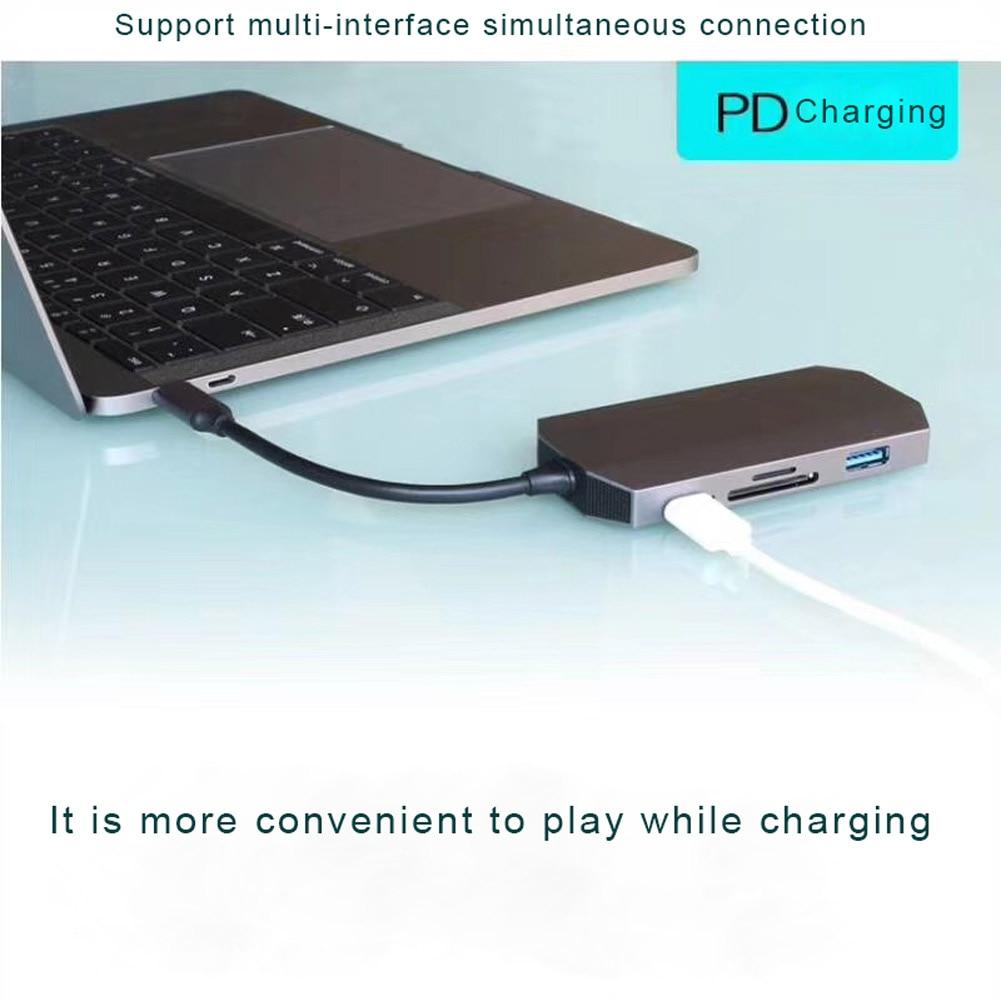 9 En 1 USB tipo C USB 3,1 Hub de vídeo HDMI de 4 K HD RJ45 Ethernet SD TF lector de tarjeta de carga muelle XXM8 - 3