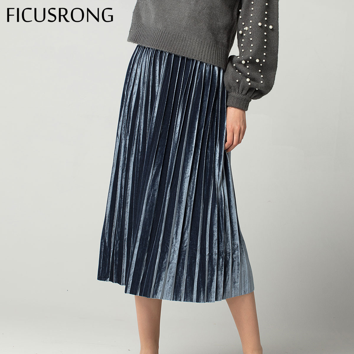 New 7 Colors Autumn Winter High Waisted Skinny Female Velvet Skirt Pleated Skirts Elegant Plus Size Women Skirt FICUSRONG
