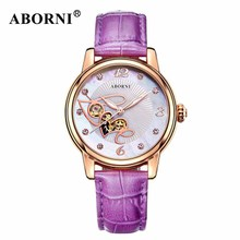 ABORNI Creative Women Mechanical Watches Gold Skeleton Bracelet Ladies Girls Wrist Watch Fashion Casual Leather Diamand Clock