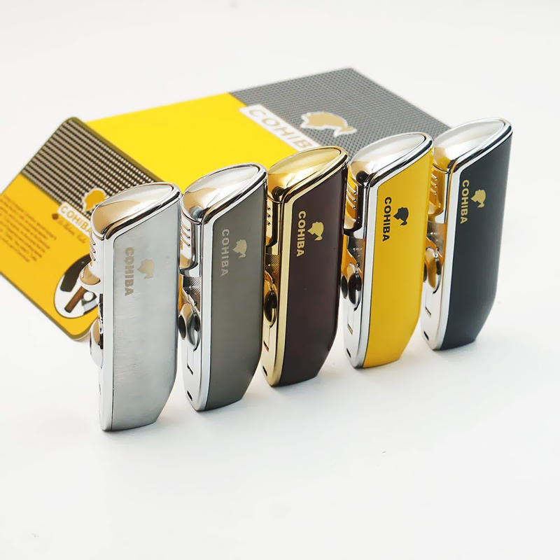 COHIBA Metal Cigarette Lighter 3 Torch Jet Flame Windproof Refillable Gas Butane Cigar Lighter With Cigar Punch Classic Vintage