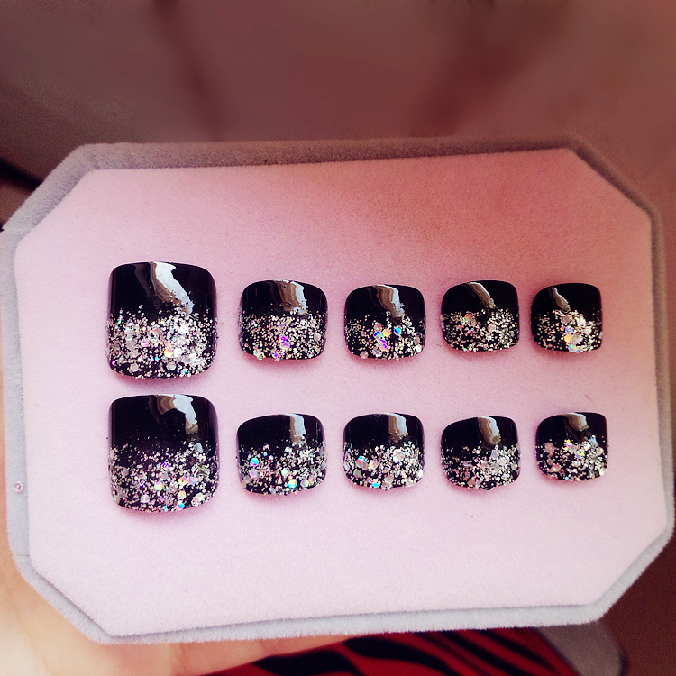 24 Pcs/set Mysterious Glitter Toe Fake Nails Black Artificial Short ...