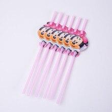6pcs Cartoon Minnie Party Supplies Straws Birthday Decoration Mariage Baby Shower happy Supplier Wedding Christmas