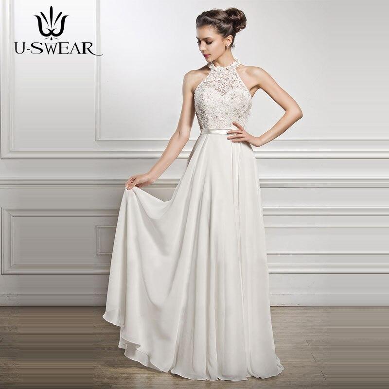 U SWEAR White Elegant Long Lace Dress Ceremony Women 2018