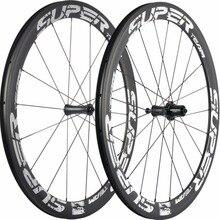 Superteam completa ruedas de carbono bicicleta de carretera 50mm ruedas de carbono blanco Etiqueta de rueda de bicicleta con R7 Centro de basalto de superficie