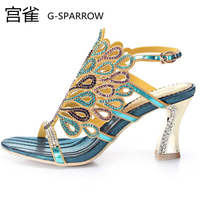 Free shipping female high quality crystal sexy buckle sandal pumps women's big size fashion colorful diamond party sandals 33 44