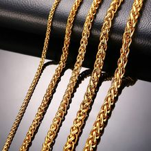 "Stainless Steel Gold Color Triple Rope Chain Men Necklace 24"" Charm Jewelry 3mm 5mm 7mm Wholesale Price(China)"